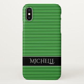 Coque iPhone X Rayures/lignes vert-foncé et vert clair motif