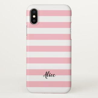 Coque iPhone X Rayures roses et blanches avec le nom fait sur