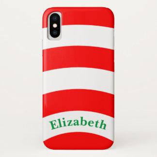 Coque iPhone X Rayures rouges et blanches avec le nom