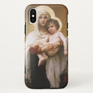 Coque iPhone X Réalisme vintage, Madonna des roses, Bouguereau