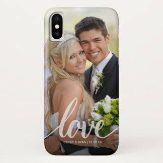 Coque iPhone X Recouvrement manuscrit de photo de mariage de