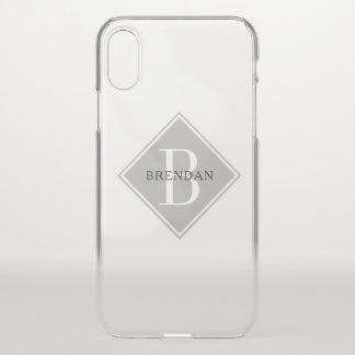 Coque iPhone X Recouvrement simple de gris de fumée de monogramme