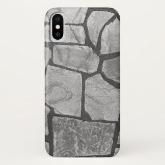 Coque iPhone X Regard de pavage en pierre gris décoratif