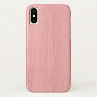 Coque iPhone X Regard du bois en bambou de grain de quartz rose