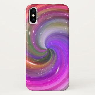 Coque iPhone X Remous rose pourpre de galaxie