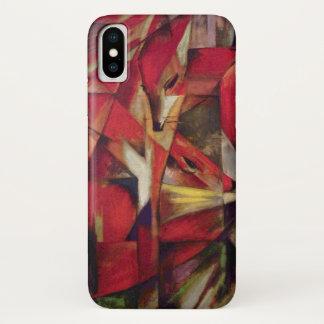 Coque iPhone X Renards par Franz Marc, art abstrait de cubisme de