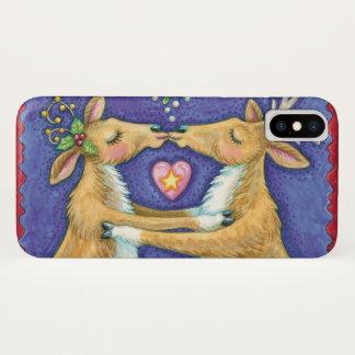 Coque iPhone X Renne mignon de Noël, gui romantique du baiser W