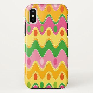 Coque iPhone X Rétro caisse colorée abstraite de téléphone de mod