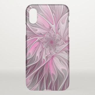 Coque iPhone X Rêve rose de fleur de fractale, motif floral