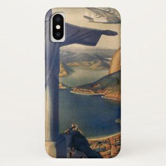 Coque iPhone X Rio de Janeiro vintage, le Christ la statue de