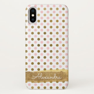 Coque iPhone X Rose, blanc et nom de point de polka de feuille