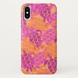 Coque iPhone X Rose de Hawaïen de tortue de mer de Honu Aloha