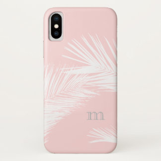 Coque iPhone X Rose gris moderne minimaliste tropical de