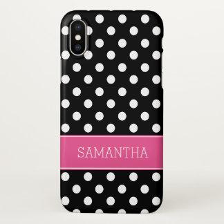 Coque iPhone X Rose noir et blanc de point de polka personnalisé