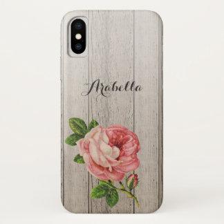 Coque iPhone X Rose vintage en bois patiné rustique de rose avec