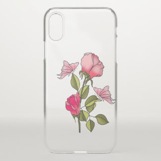 Coque iPhone X roses et papillons