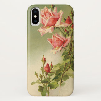 Coque iPhone X Roses roses vintages de jardin pour la