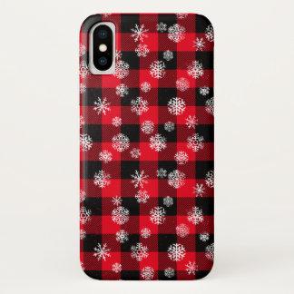 Coque iPhone X Rouge de plaid de Buffalo de flocon de neige