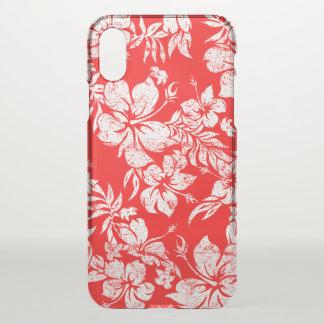 Coque iPhone X Rouge floral hawaïen de Pareau de ketmie Aloha -