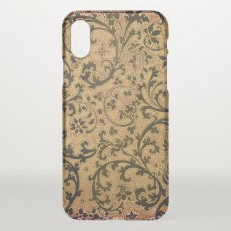 Coque iPhone X Rouleau victorien de feuille et de fleur