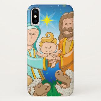 Coque iPhone X Scène douce de la nativité du bébé Jésus