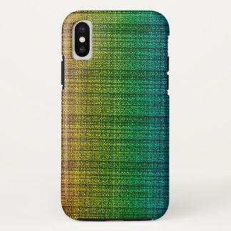 Coque iPhone X Sembler de tissu de tweed d'arc-en-ciel modelé
