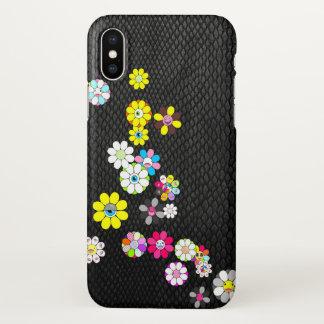 Coque iPhone X Serpent et fleurs