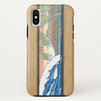 Coque iPhone X Signe en bois de surf de Koa de Faux hawaïen de
