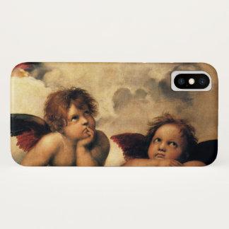 Coque iPhone X Sistine Madonna, détail d'anges par Raphael