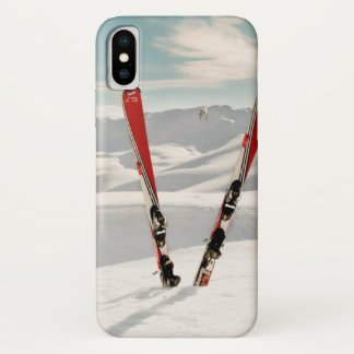 Coque iPhone X Skis rouges