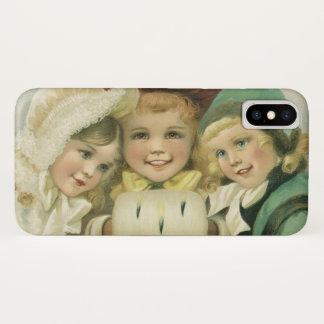 Coque iPhone X Soeurs vintages de Noël, enfants victoriens