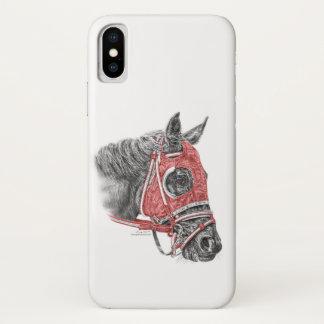 Coque iPhone X Soies de portrait de cheval de course