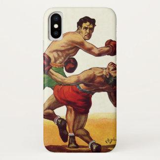 Coque iPhone X Sports vintages, boxeurs dans un combat de boxe