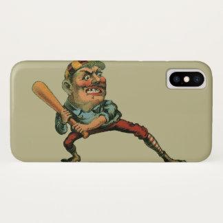 Coque iPhone X Sports vintages, joueur de baseball fâché