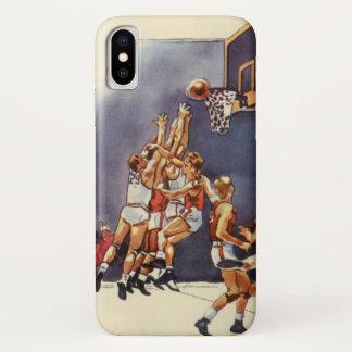 Coque iPhone X Sports vintages, joueurs de basket dans un jeu
