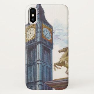 Coque iPhone X Statue vintage de cheval de tour d'horloge de Big