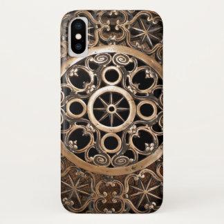 Coque iPhone X Steampunk antique de bronze en métal de Vatican