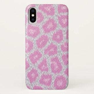 Coque iPhone X Style de léopard de neige - rose argenté