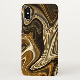 Coque iPhone X Style de marbre magnifique - brun chaud