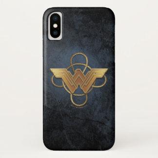 Coque iPhone X Symbole d'or de femme de merveille au-dessus de