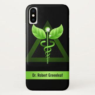 Coque iPhone X Symbole médical de médecine douce verte de caducée