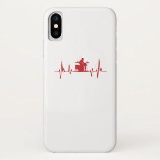 Coque iPhone X Tambours drôles d'amour du battement de coeur I de