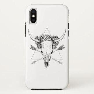 Coque iPhone X Tatouage de crâne de Taureau