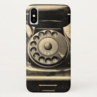 Coque iPhone X Téléphone rotatoire vintage sur le cas de