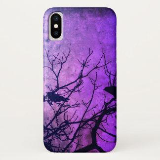 Coque iPhone X Tentative de meurtre : Corneilles, rose/cieux
