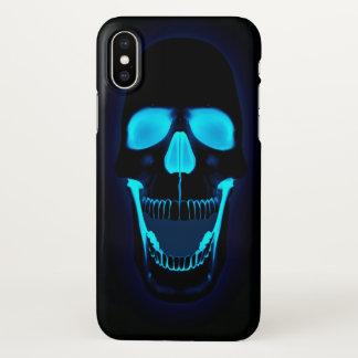 Coque iPhone X Tête bleu-foncé de crâne de lighs