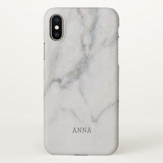 Coque iPhone X Texture de marbre blanche avec le nom fait sur