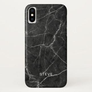 Coque iPhone X Texture de marbre noire avec le nom fait sur