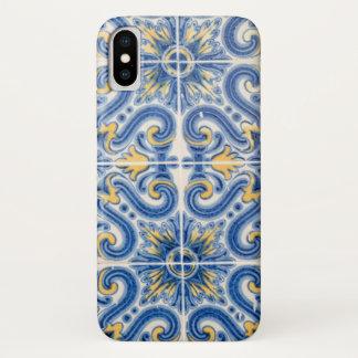 Coque iPhone X Tuile bleue et jaune, Portugal