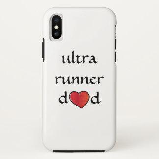 Coque iPhone X Ultra conception rouge de coeur de papa de coureur
